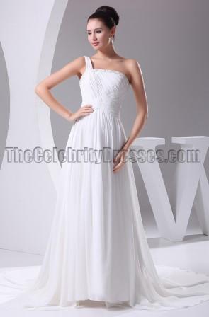 White One Shoulder Chiffon A-Line Wedding Dress