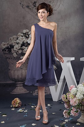 One Shoulder Chiffon Knee Length Cocktail Party Dress