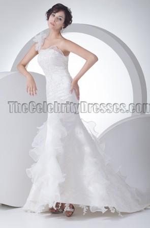 Celebrity Inspired One Shoulder Mermaid Wedding Dresses