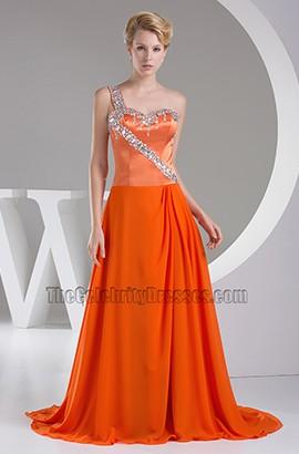 One Shoulder Orange Bridesmaid Prom Dresses With Beading
