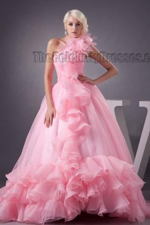 Pink One Shoulder Ball Gown Formal Evening Dresses