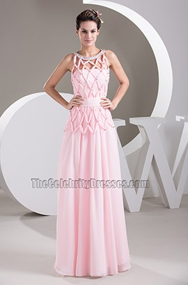 Pink Strapless Chiffon Prom Dress Evening Gown