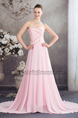 Pink Strapless Chiffon Prom Gown Evening Formal Dresses