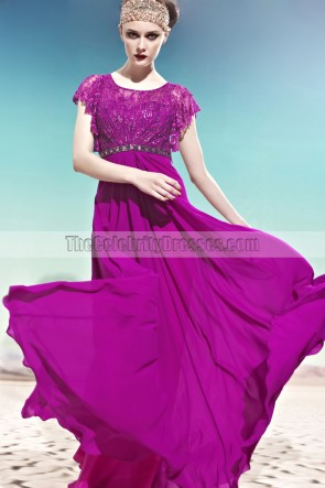 Purple Floor Length A-Line Formal Dress Evening Gown With Beading