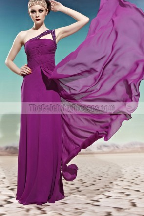 Purple One Shoulder Floor Length Beaded Evening Prom Dresses
