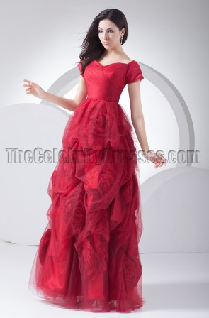 Romantic Red Formal Gown Evening Dresses With Rose Flowers