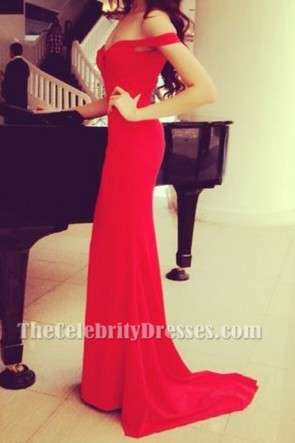Elegant Red Off The Shoulder Prom Gown Evening Dress