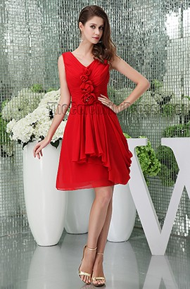 Red Short V-Neck Graduation Cocktail Dresses With Flowers