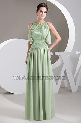 Sage Chiffon Floor Length Prom Gown Bridesmaid Evening Dresses