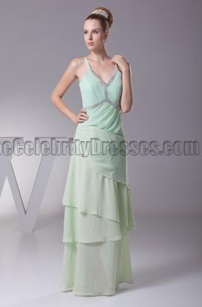 Floor length Sage V-Neck Prom Gown Evening Dresses