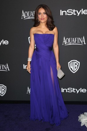 Salma Hayek bleu royal robe de soirée 2015 InStyle et Warner Bros Golden Globe Awards Post-Party