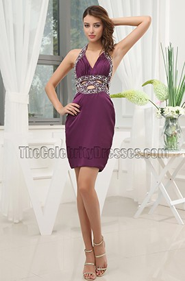 Sexy Cut Our Purple Party Cocktail Homecoming Dresses