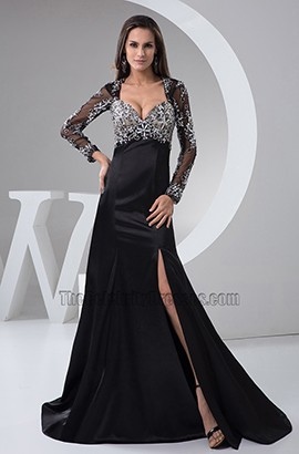 Sexy Black Long Sleeve Formal Dress Evening Gown
