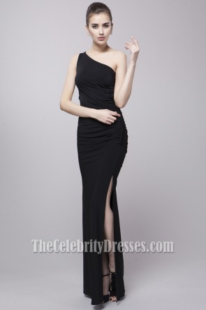 Sexy Black One Shoulder Evening Gown Prom Dresses
