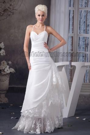Sexy Floor Length Spaghetti Straps Lace Taffeta Wedding Dress
