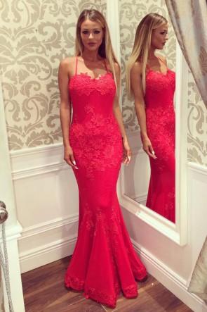 Sexy Sirène Rouge Appliques De Dentelle Robes De Soirée Prom Robes Formelles