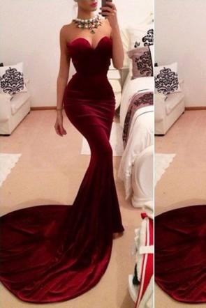 Robe de soirée sans bretelles en velours rouge sexy sirène