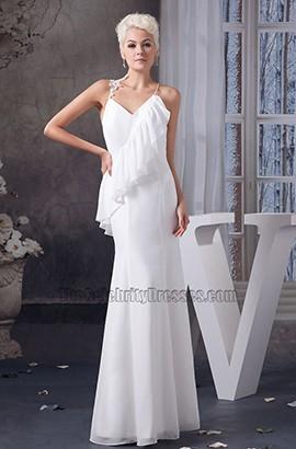Sexy Spaghetti Straps Backless Informal Wedding Dress