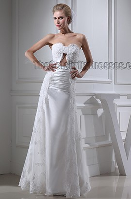 Sexy Strapless Embroidered Floor Length Wedding Dress