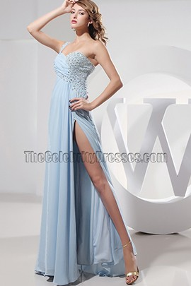 Sexy Light Sky Blue Cut Out Chiffon Prom Gown Evening Dress