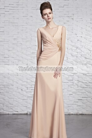 Sheath/Column V-Neck Beaded Prom Gown Evening Dresses