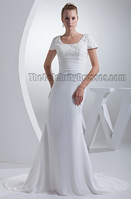 Sheath/Column Beaded Embroidery Chapel Train Wedding Dresses