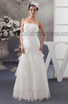 Sheath/Column Floor Length Strapless Bridal Gown Wedding Dress
