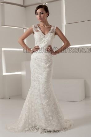 Sheath/Column Lace Chapel Train Wedding Dresses