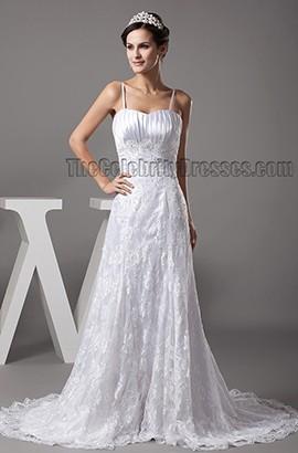 Sheath/Column Spaghetti Straps Chapel Train Lace Wedding Dress