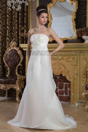 Sheath/Column Strapless A-Line Beaded Wedding Dress Bridal Gown