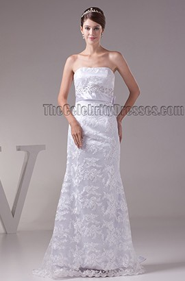 Sheath/Column Strapless Beaded Floor Length Wedding Dress