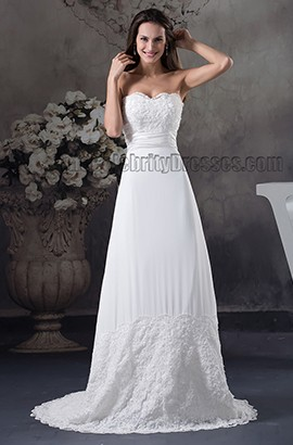 Sheath/Column Strapless Chapel Train Wedding Dress Bridal Gown