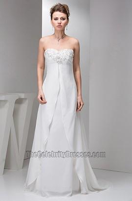 Sheath/Column Strapless Chiffon Chapel Train Wedding Dresses