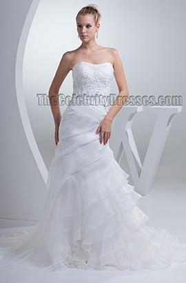 Sheath/Column Strapless Organza Lace Up Embroidered Wedding Dress