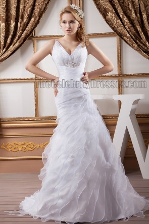 Discount Sheath/Column V-Neck Organza Wedding Dresses