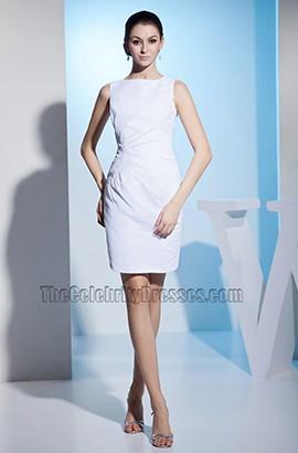 Sheath Column White Sleeveless Cocktail Party Dresses