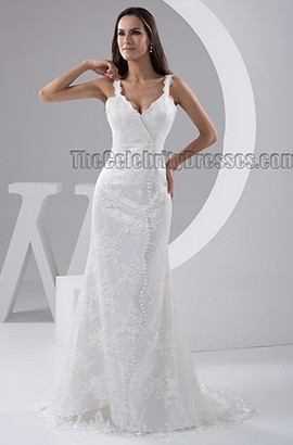 Sheath/Colunm Lace Sweep Brush Train Bridal Gown Wedding Dress