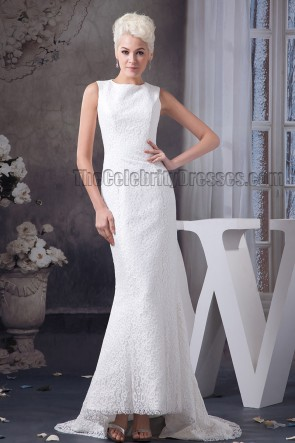 Sheath/ Column Sleeveless Lace Sweep /Brush Train Wedding Dress