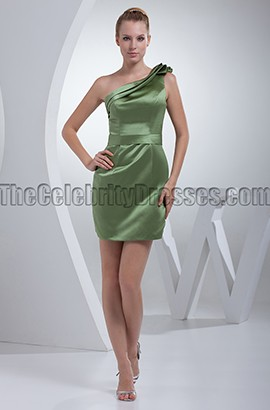 Short Green One Shoulder Party Graduation Dresses