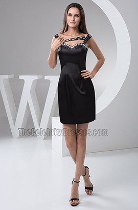 Short Mini Black Beaded Party Graduation Homecoming Dresses