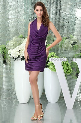 Sexy Short Mini Purple Halter Party Cocktail Dresses