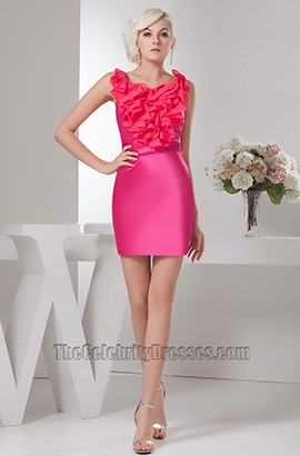 Short Mini Sheath/Column Fuchsia Party Homecoming Dresses
