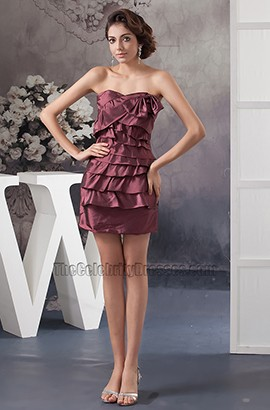Short Mini Taffeta Strapless Sweetheart Party Homecoming Dress