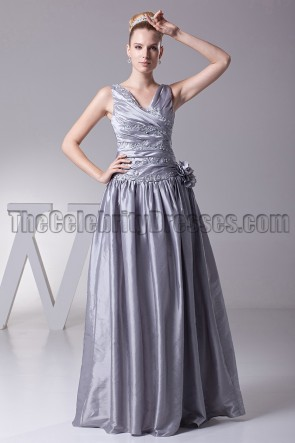 Silver A-Line V-Neck Formal Dress Evening Prom Gown