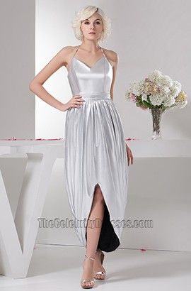 Celebrity Inspired Silver Halter Prom Gown Evening Dresses