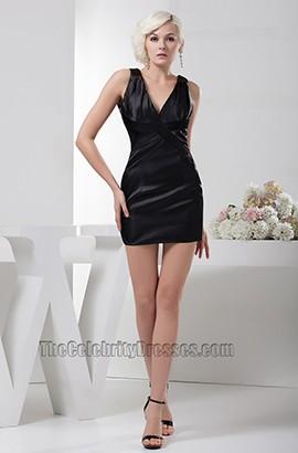 Simple Short Mini Black V-neck Party Homecoming Dresses