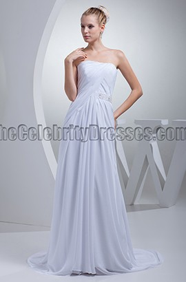 Simple Strapless A-Line Chiffon Wedding Dresses
