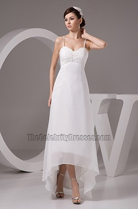 Spaghetti Straps Hi-Low A-Line Floor Length Wedding Dresses