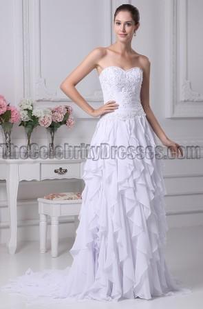 Strapless A-Line Beaded Ruffle Wedding Dresses