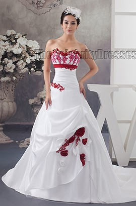 Strapless A-Line Chapel Train Embroidered Wedding Dresses